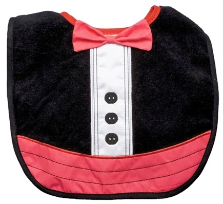 DROPPED: Green Sprouts - Dress Up Waterproof Absorbent Bib 3-12 Months Tuxedo Black & Red