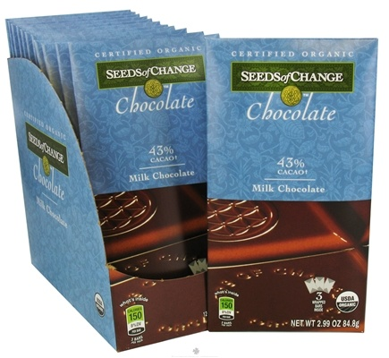 DROPPED: Seeds of Change - Chocolate Certified Organic 43% Cacao 3 Wrapped Bars Milk Chocolate - 2.99 oz. CLEARANCE PRICED