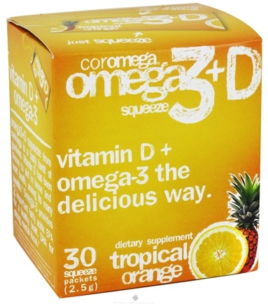 DROPPED: Coromega - Omega 3 + D Squeeze Tropical Orange - 30 Packet(s) CLEARANCE PRICED