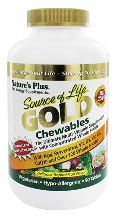 Nature's Plus - Source Of Life Gold Chewables Ultimate Multi-Vitamin Delicious Tropical Fruit Flavor - 90 Tablets