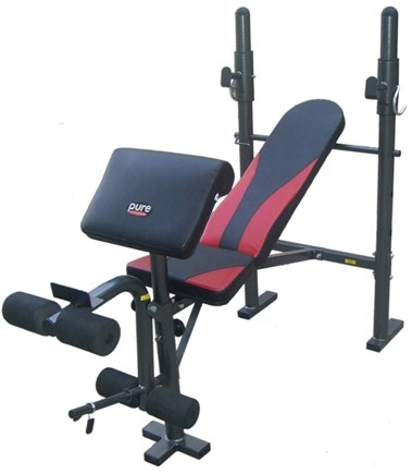 DROPPED: Pure Fitness - Multi-Purpose Weight Bench With Preacher Curl 8523MB Black/Red
