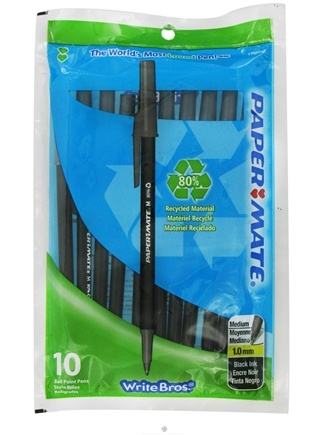 DROPPED: Paper Mate - Write Bros Recycled Ballpoint Pen Medium Point 1.0 mm Black - 10 Pack CLEARANCE PRICED