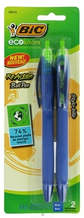 DROPPED: BIC - Ecolutions ReAction Retractable Ball Pen Medium Point 1.0 mm Blue - 2 Pack CLEARANCE PRICED