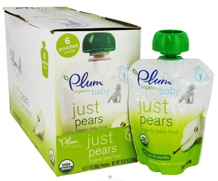 DROPPED: Plum Organics - Organic Baby Food Just Pears 6+ months - 3.5 oz. CLEARANCE PRICED