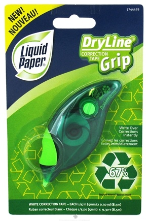DROPPED: Liquid Paper - Dry Line Grip Recycled Correction Tape (1744479) Green - CLEARANCE PRICED