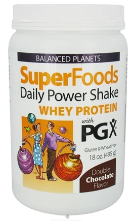 DROPPED: Natural Factors - Balanced Planets SuperFoods Daily Power Shake Whey Protein With PGX Double Chocolate Flavor - 18 oz.