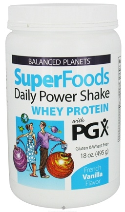 DROPPED: Natural Factors - Balanced Planets SuperFoods Daily Power Shake Whey Protein With PGX French Vanilla Flavor - 18 oz. CLEARANCE PRICED