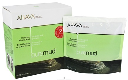 DROPPED: AHAVA - Pure Spa PureMud Dead Sea Mineral Mud Soothing & Purifying 4 x 8.5 oz. Packets
