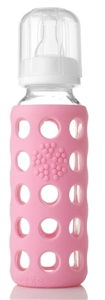 DROPPED: Lifefactory - Glass Baby Bottle With Silicone Sleeve Pink - 9 oz. CLEARANCE PRICED