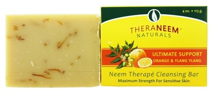 Organix South - TheraNeem Organix Cleansing Bar For Sensitive Skin Maximum Strength Ultimate Support Orange & Ylang Ylang - 4 oz.