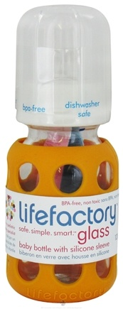 DROPPED: Lifefactory - Glass Baby Bottle With Silicone Sleeve Orange - 4 oz.