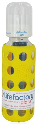 DROPPED: Lifefactory - Glass Baby Bottle With Silicone Sleeve Yellow - 9 oz. CLEARANCE PRICED