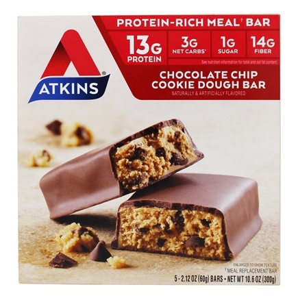 Atkins Nutritionals Inc. - Advantage Meal Bar Chocolate Chip Cookie Dough - 5 Bars