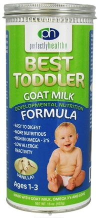 DROPPED: Perfectly Healthy - Best Toddler Goat Milk Developmental Nutrition Formula Vanilla - 16 oz.