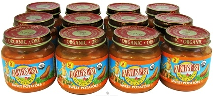 Zoom View - Organic Baby Food Stage 2 Sweet Potatoes 12 x 4 oz. Jars