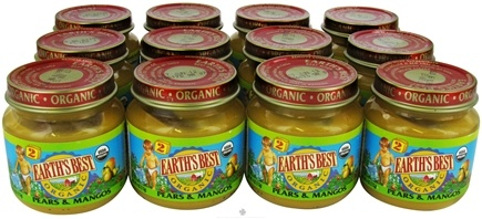 DROPPED: Earth's Best - Organic Baby Food Stage 2 Pears & Mangos 12 x 4 oz. Jars - 1 Case CLEARANCE PRICED
