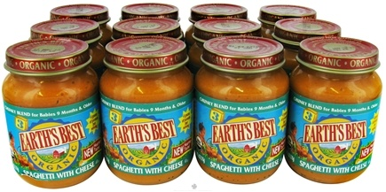 DROPPED: Earth's Best - Organic Baby Food Stage 3 Chunky Blend Spaghetti With Cheese 12 x 6 oz. Jars - 1 Case CLEARANCE PRICED