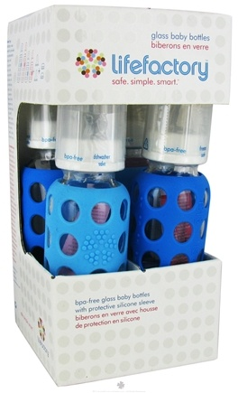 DROPPED: Lifefactory - Glass Baby Bottle With Silicone Sleeve Starter Kit Sky Blue/Ocean Blue - CLEARANCE PRICED