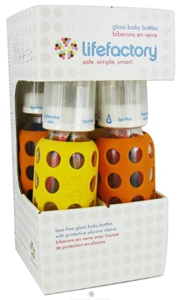 DROPPED: Lifefactory - Glass Baby Bottle With Silicone Sleeve Starter Kit Yellow/Orange
