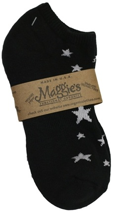 DROPPED: Maggie's Organics - Socks Cotton Patterned Footie Size 9-11 Stars Black - 1 Pair