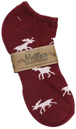 DROPPED: Maggie's Organics - Socks Cotton Patterned Footie Size 9-11 Moose Maroon - 1 Pair
