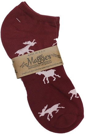 DROPPED: Maggie's Organics - Socks Cotton Patterned Footie Size 10-13 Moose Maroon - 1 Pair CLEARANCE PRICED