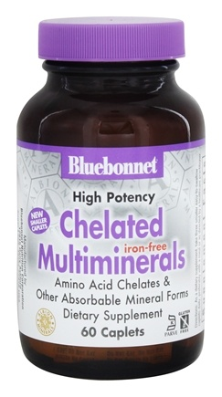 Bluebonnet Nutrition - Chelated Multiminerals Iron-Free - 60 Caplets