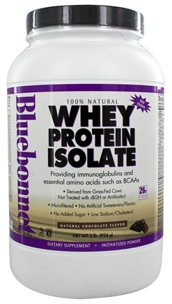 Bluebonnet Nutrition - 100% Natural Whey Protein Isolate Powder Natural Chocolate Flavor - 2 lbs.