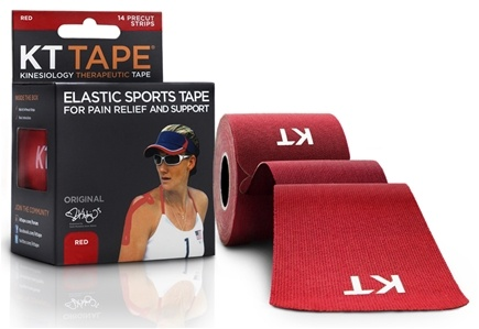KT Tape - Kinesiology Therapeutic Elastic Athletic Tape Pre-Cut Strips Red - 20 Strip(s)