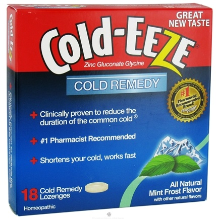 DROPPED: Cold-Eeze - Zinc Gluconate Glycine Homeopathic Cold Remedy All Natural Mint Frost Flavor - 18 Lozenges Formerly by Quigley CLEARANCE PRICED
