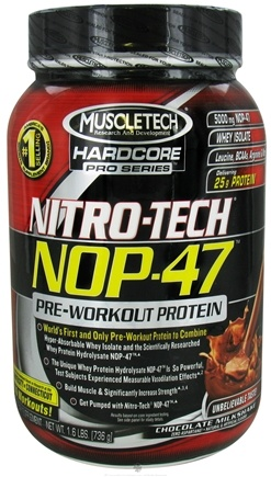 DROPPED: Muscletech Products - Nitro-Tech NOP-47 Hardcore Pro Series Pre-Workout Protein Chocolate Milkshake - 1.6 lbs. CLEARANCE PRICED