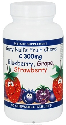 DROPPED: Gary Null's - Kid's Fruit Chews C Blueberry Grape Strawberry 300 mg. - 90 Chewable Tablets CLEARANCE PRICED