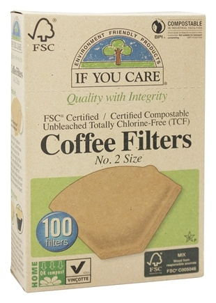 If You Care - Coffee Filters #2 Size Cone Style Unbleached Totally Chlorine-Free (TCF) - 100 Filter(s)