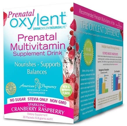 DROPPED: Oxylent - Prenatal Daily Multivitamin Drink Sparkling Cranberry Raspberry - 30 Packet(s) CLEARANCE PRICED