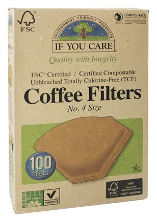 If You Care - Coffee Filters #4 Size Cone Style Unbleached Totally Chlorine-Free (TCF) - 100 Filter(s)
