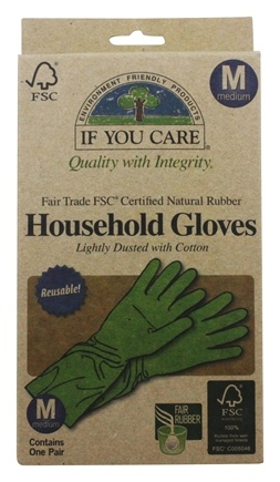 If You Care - Household Gloves Latex Cotton Flock Lined 1 Pair - Medium