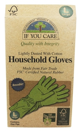 If You Care - Household Gloves Latex Cotton Flock 1 Pair - Large