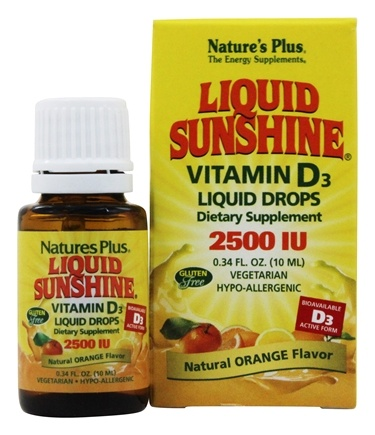 Nature's Plus - Liquid Sunshine Vitamin D3 Liquid Drops Natural Orange Flavor 2500 IU - 0.34 oz.