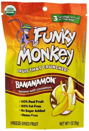 DROPPED: Funky Monkey Snacks - Freeze Dried Fruit Bananamon Banana with Cinnamon - 1 oz. CLEARANCE PRICED
