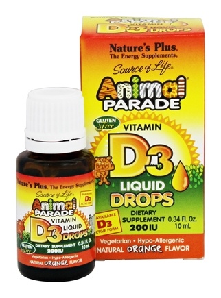 Nature's Plus - Source Of Life Animal Parade Vitamin D3 Liquid Drops Natural Orange Flavor 200 IU - 0.34 oz.