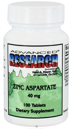 DROPPED: Advanced Research - Zinc Aspartate 40 mg. - 100 Tablets CLEARANCE PRICED