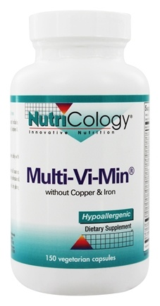 Nutricology - Multi-Vi-Min Without Copper & Iron - 150 Vegetarian Capsules