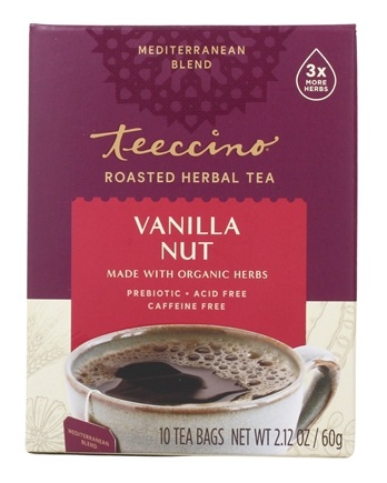 Teeccino - Chicory Herbal Tea 75% Organic Vanilla Nut - 10 Tea Bags