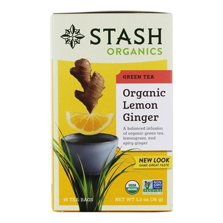Zoom View - Premium Organic Lemon Ginger Green Tea