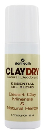 Zion Health - Clay Dry Natural Roll-On Deodorant - 3 oz.