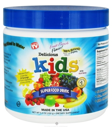 DROPPED: Greens World - Delicious Kids Superfood Drink Fruit Punch - 5.3 oz. CLEARANCE PRICED