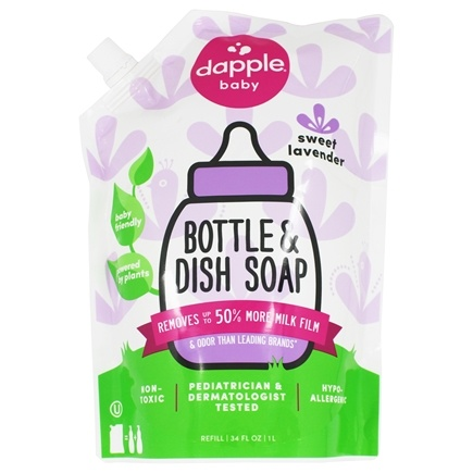Dapple - Baby Bottle & Dish Liquid Eco-Smart Refill Pack Lavender - 34 oz.