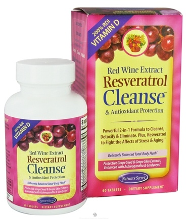 DROPPED: Nature's Secret - Red Wine Extract Resveratrol Cleanse & Antioxidant Protection - 60 Tablets CLEARANCE PRICED