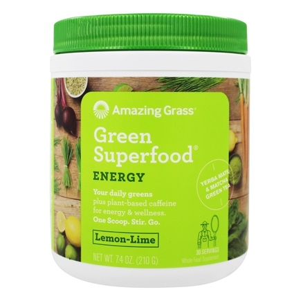 Amazing Grass - Green SuperFood Energy Drink Powder 30 Servings Lemon Lime - 7.4 oz.