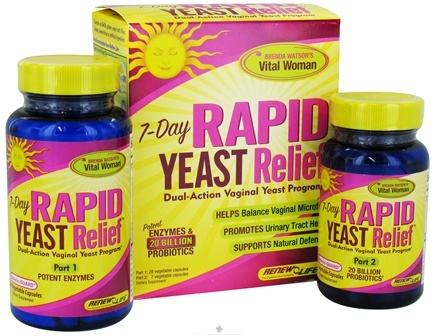 DROPPED: ReNew Life - 7-Day Rapid Yeast Relief 2 Part Kit - 35 Vegetarian Capsules CLEARANCE PRICED